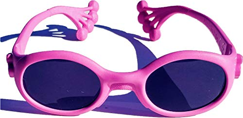 Animals Sunglasses Froggy, occhiale protezione sole bambino da 6 mesi a 1, 2, 3 anni, lenti pc INFRANGIBILI UV 400 cat. 3 e 4, montatura pieghevole e indistruttibile (no viti), Made in Italy (Rosa)