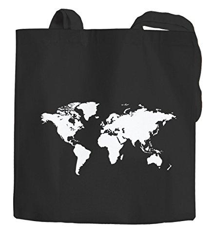 Baumwolltasche Weltkarte World Map Stoffbeutel Jutebeutel Baumwollbeutel Autiga® schwarz 2 lange Henkel