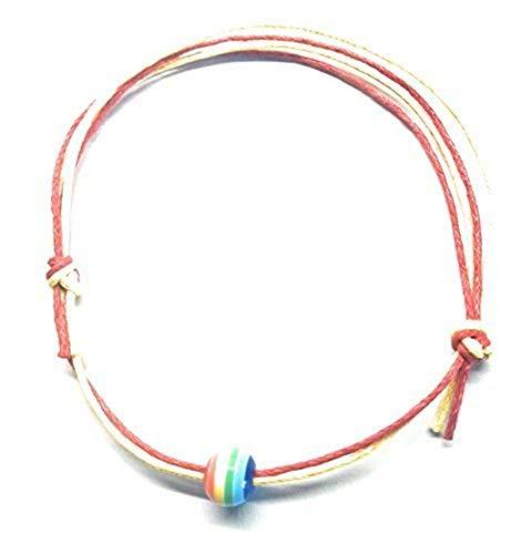 Evil Eye Anklet~Rainbow Bead 1mm Waxed Cotton Bracelet~Adjustable Sliding Knots~Infinity Surf Cotton Anklet (Red Yellow Rainbow Bead Pride Anklet)