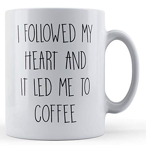 Grappige mok koffie liefhebber, ik volgde mijn hart en het leidde me naar koffie - gift mok door vader vos