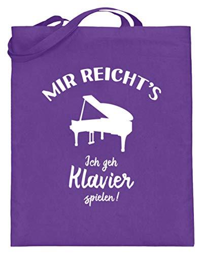 shirt-o-magic Pianist: Ich geh Klavier spielen! - Jutebeutel (mit langen Henkeln) -38cm-42cm-Violett