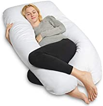 QUEEN ROSE Pregnancy Pillow, U-Shaped Maternity Pillow,Extra Thick Full Body Support Pillow with Washable Cover for Pregnant Women,White