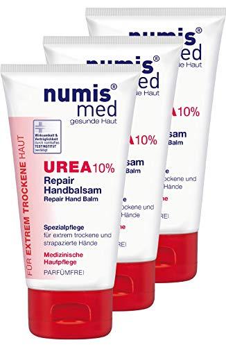 numis med Repair Handbalsam mit 10% Urea - Hautpflege parfümfrei & vegan - Handcreme für sensible, zu Neurodermitis neigende & trockene Haut - Hand Creme im 3er Pack (3x 75 ml)