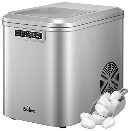 Eiswürfelmaschine 2.2L, 13kg(28lbs) Eis pro Tag, Zubereitung in 6-8 Minuten, 2 Eiswürfel-Größen, LED-Display, Leise DC-Fan, Leise Ice Maker, Kealive Eiswürfelbereiter ohne Wasseranschluss