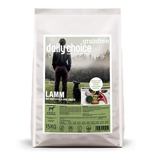 daily choice grainfree | 15 kg | Trockenfutter für Hunde | getreidefrei | Lamm mit Kartoffeln und Erbsen | Monoprotein mit Frischfleisch | Enthält Chicorée, Grünlippmuschel und wertvolle Kräuter