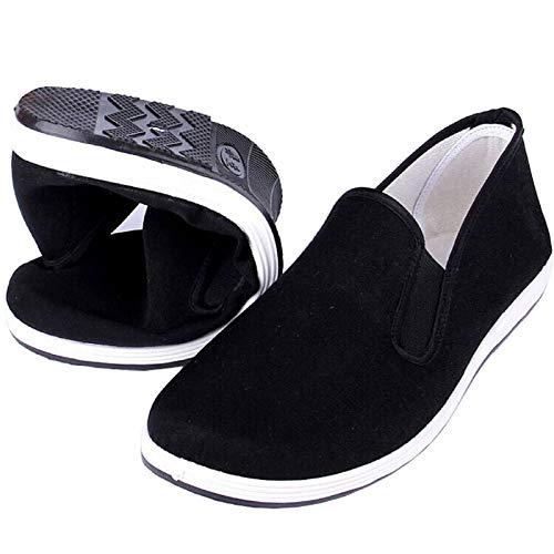 Kung Fu Tai Chi Zapatos de Artes Marciales Suela de Goma Unisex Lona Antideslizante Moda Qigong Zapatillas de Deporte Negro EU 39 (245cm)