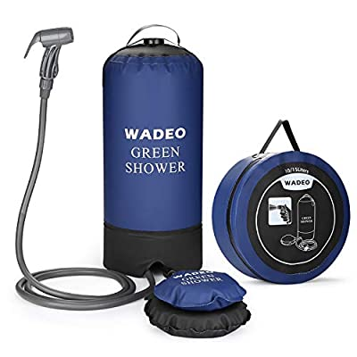 WADEO Camp Shower, 4 Gallons Portable Outdoor Camping Shower Bag Pressure Shower with Foot Pump and Shower Nozzle for Beach Swim Travel Hiking Backpacking - 15L, Blue