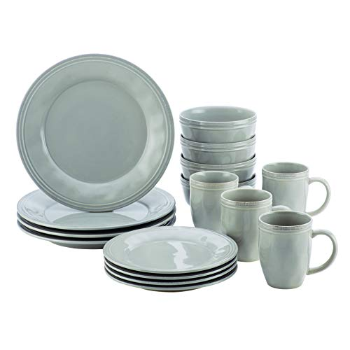 Rachael Ray Cucina Dinnerware 16-Piece Stoneware Dinnerware Set, Sea Salt Grey