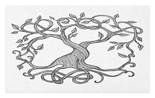 Lunarable Celtic Doormat, Single Celtic Tree Life with Swirly Long Branchesnd Roots, Decorative Polyester Floor Mat with Non-Skid Backing, 30' X 18', Charcoal Grey White