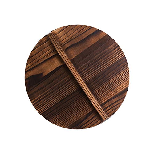 Forart Wooden Lid for Cast Iron Wok with Wooden Lid 12.6/13.4/13.8/15 Inch Diameter and Large Handles
