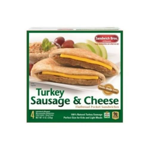 Sandwich Brothers Turkey Sausage and Cheese Breakfast Sandwich, 9 Ounce -- 6 per case.