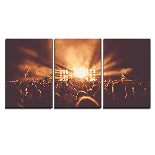 wall26 - 3 Piece Canvas Wall Art - Crowd at Concert - Modern Home Art Stretched and Framed Ready to Hang - 16'x24'x3 Panels