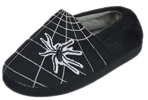 Jungen Spinne und Web Plüsch Volle Hausschuhe - Schwarz EUR 30-31