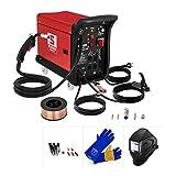 Stamos Welding Set De Soldadora Multiproceso S-MIGMA-195 MIG MAG Set 1 (MIG/MAG/MMA/FCAW, Careta y guantes de soldar, 1 kg de alambre y piezas de recambio)