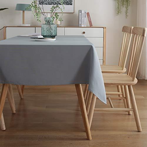 ENCOFT Tischdecke Rechteckige Abwaschbar Grau Polyester Tischtuch Wasserabweisend Geeignet für Home Küche Dekoration Verschiedene (Grau, 140 x 220cm)