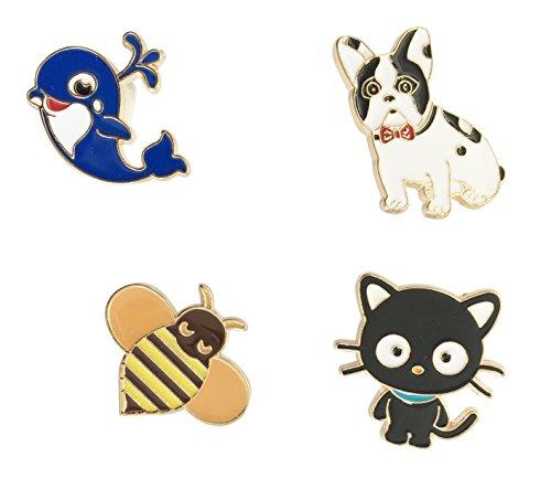 Brosche Anstecknadel Anstecker Pins Metall Brosche 4 Stück Set Biene Hund Katze Wal