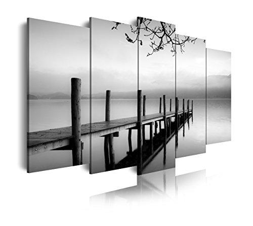 DekoArte Cuadros Modernos Impresión de Imagen Artística Digitalizada, Lienzo Decorativo para Tu Salón o Dormitorio, Estilo Zen Blanco y Negro con Paisaje Embarcadero XXL, 5 piezas (200x100cm)