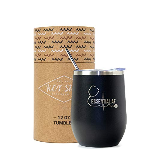 Product Image 1: KCT Store Nurse Gifts – Doctor Gifts & Medical Gifts – Essential AF – Stainless Steel Double Walled Wine & Coffee Tumbler – BPA Free Closing Lid and Metal Straw Included – 12 oz (Matte Black)