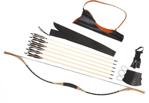 Combination Set Traditional Archery Black Cow Leather Longbow Recurve Bow 6 Wood Arrows 30-80LBS CB6XSC (45 LB)