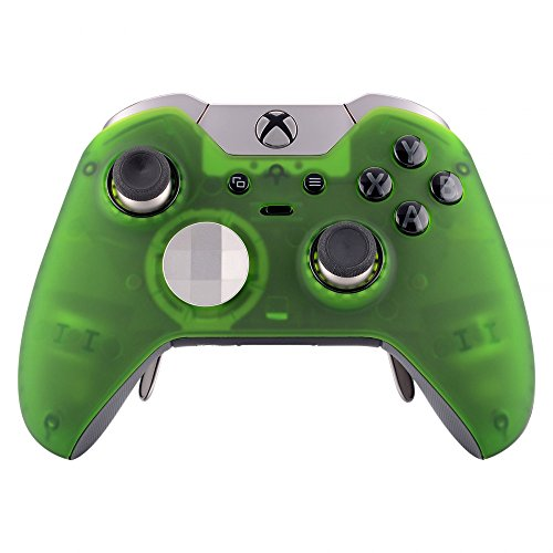 eXtremeRate Soft Touch Grip Front Housing Shell Foggy Clear Green Custom Faceplate for Xbox One Elite Controller Model 1698 with Thumbstick Accent Rings - Controller NOT Included
