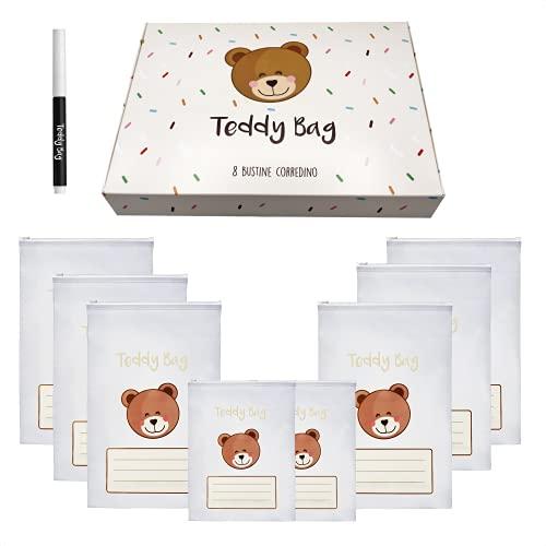 Teddy Bag 8 Bustine Corredino Neonato 100% Made In Italy Sacchetti Cambio Bimbo Borsone Nascita per Future Mamme Borsa Parto Os