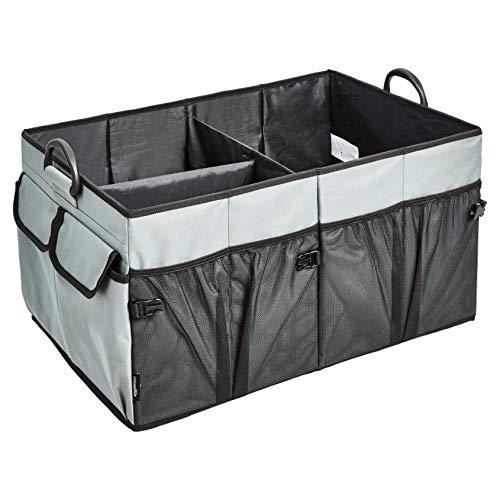 Amazon Basics - Organizer pieghevole per bagagliaio, con manici in plastica, grigio