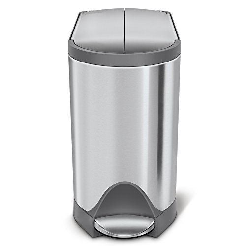 simplehuman CW2031 Butterfly Lid Bathroom Step Trash Can,...