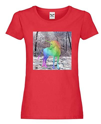 Camiseta – Unicornio Fabelwesen Multicolor cuentos – Camiseta para mujer y mujer rojo XL