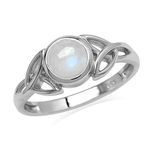 Silvershake Natural 6 mm Round Rainbow Moonstone 925 Sterling Silver Triquetra Celtic Knot Ring Size 6