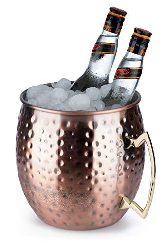 Buddy´s Bar - Moscow Mule Flaschenkühler, 5 Liter Volumen, hochwertiger Edelstahl-Kühler, lebensmittelecht, Hammerschlag-Effekt, Riesen Cocktail-Tasse, gehämmert, Kupfer Antik, 1 Stück
