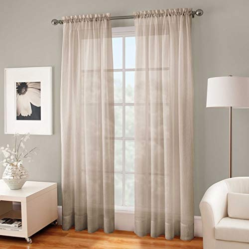 Kensington Home Fashion Crushed Voile Sheer 84-Inch Rod Pocket Window Curtain Panel in Linen