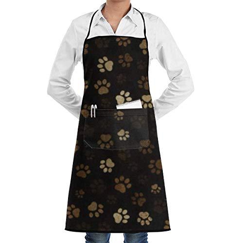 N/A Delantal de Babero de Barro con Estampado de Pata-Delantal Negro Unisex Lavable a máquina a Granel para elaboración de Cocina Dibujo de Barbacoa
