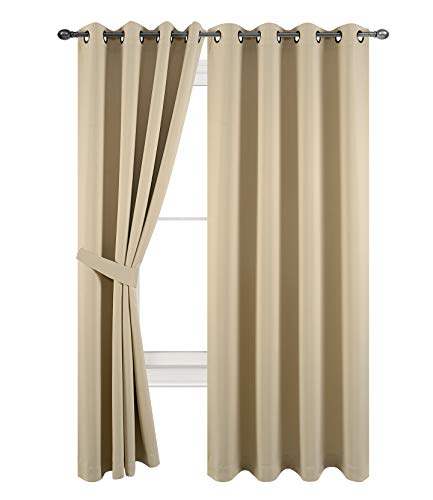 TEXPLUS 2 Panels Solid Color High Shading Grommet Top Blackout Curtains for Bedroom (Beige, 2x52Wx84L inches)