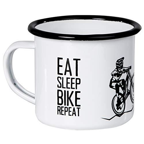 Mountainbike MTB | Emaille Becher mit coolem Biker Design | EAT Sleep Bike Repeat | leicht und robust - von MUGSY.de