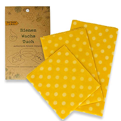 BlueFox I Bienenwachstücher 3er Set I Wachspapier für Lebensmittelaufbewahrung I wiederverwendbares Beeswax Wrap Wachstuch waschbar für Obst und Brot I Schüssel-Abdeckung I Farbe: Gelb