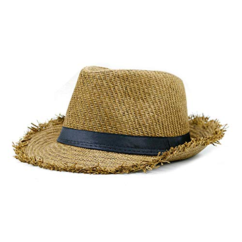 CHENGWJ Chapeau de Paille Homme Chapeau De Paille Kaki Hommes Panama Casquettes Style D'Été Chapeau De Soleil Vacances À La Plage Classique Hommes Chapeaux Et Casquettes