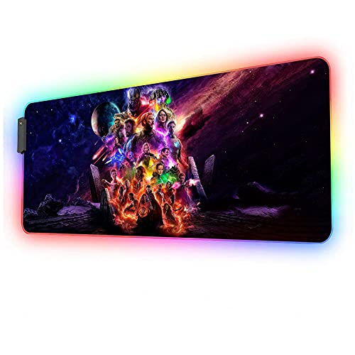 RGB Mouse Pad Avengers Heroes,Extra Large Gaming Mousepad,Full Size Glowing Laptop Desk Mat,Non-Slip Rubber Base,12 Lightings Modes,Computer Keyboard & Mice Combo Pads for Office Home Game 35.4x15.7