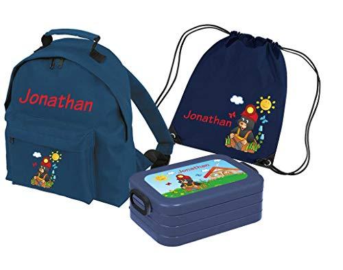 Mein Zwergenland Set 4 Kindergartenrucksack Classic und Brotdose Lunchbox Maxi + Turnbeutel mit Name Maulwurf, 3-teilig, Navy