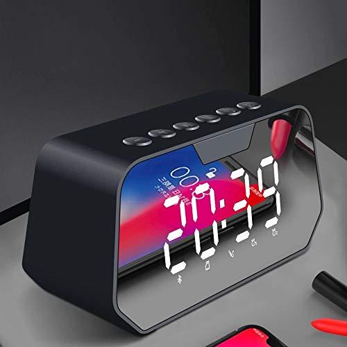 ZMING Protocolo Bluetooth de Sonido del Altavoz inalámbrico Bluetooth 5.0 Viper Sonido de la Alarma de Radio portátiles Volumen de Reloj teléfono móvil del subwoofer (Color : Negro)