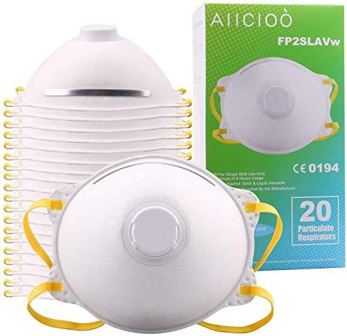 HYOOCH 20 X Mascarillas de Polvo FFP2 con válvula Mascarillas Desechables contra Las partículas/Polvo/PM 2.5 / Polen/bacteriana Calidad Permanente Uso de la casa/Aire Libre (20 PCS) es adecuad