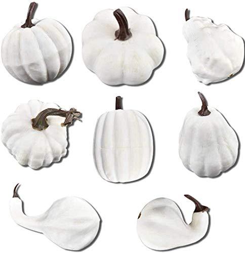 8 Stück Kürbisse zum Dekorieren, Halloween, künstliche Mini-Kürbis für Herbst Herbst, Erntedankfest, Garten, Zuhause, Ernte, Dekoration, Handwerk
