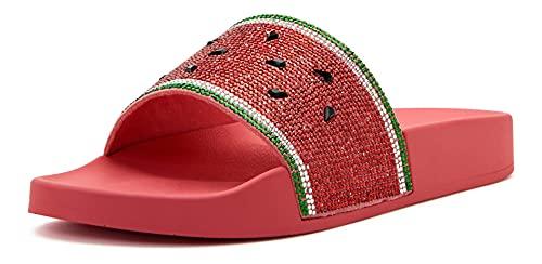 Katy Perry Women's The Jimmi Slide Sandal, Watermelon/Oasis Pink, 8