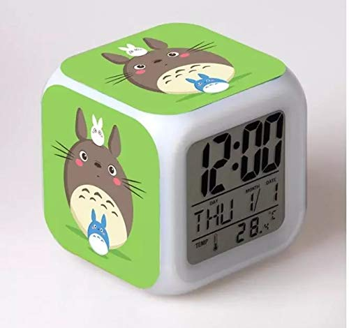 fdgdfgd Clásico Anime Spirited Away Personajes 3D LED Reloj Despertador para niños Juguete con termómetro Fecha Reloj Despertador