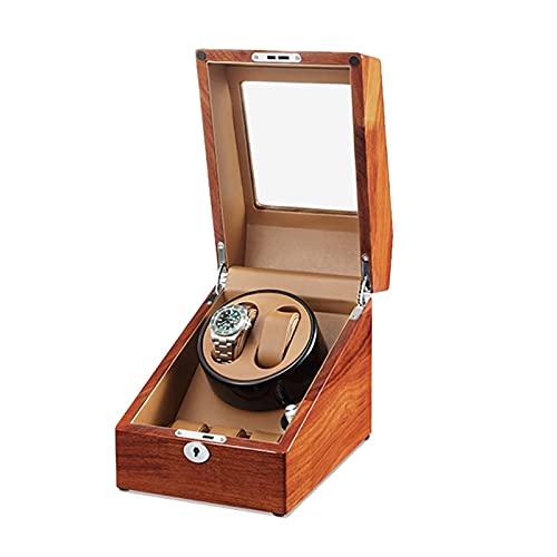 YZSHOUSE Caja de Relojes Automaticos Estuche para 2+ 3 Relojes 5 Velocidades de Reloj de Pulsera de Relojes Hombre Mujer de Madera Caja de Reloj con Motor Silencioso Marrón