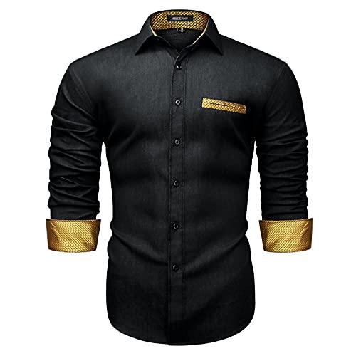 Enlision Jeanshemd Freizeithemden für Herren Business Casual Langarmhemd Slim Fit Kontrast Golden Schwarze Hemd Männer XL