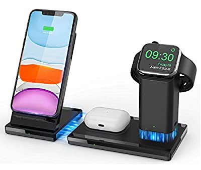 Wireless Charger, Qi-Certified Fast Charging Station, 3 in 1 Detachable Magnetic Wireless Charging Stand for Apple Watch Airpods Pro iPhone 11/11Pro X/XS/XR/Xs Max/8/8 Plus from allcaca