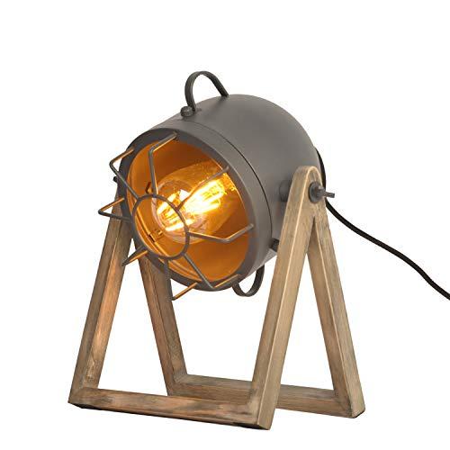 BarcelonaLED Lámpara de Mesa Vintage Diseño Industrial Gris con Proyector Orientable Pantalla Jaula Metalica Casquillo E27 y Base de Madera para Escritorio Salón Habitación Mesilla de Noche