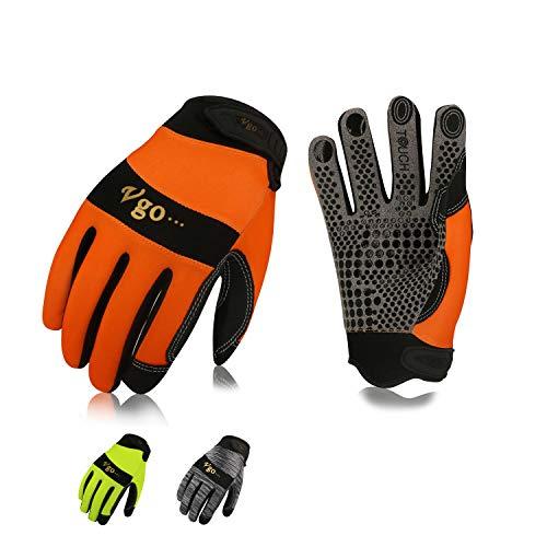 Vgo Guanti, 3 paia, guanti da lavoro uomo in pelle, guanti da meccanico, giardino, multifunzione (8/M, Grigio & Arancio & Verde, SL7895)