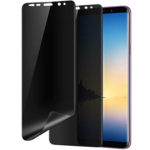 Galaxy Note 8 Privacy Screen Protector, Audins Self Healing Full Adhesive Coverage Flexible Film [2-Pack], Case Friendly Easy Install 3D Curve Edge Fit Soft Film for Samsung Galaxy Note 8, Black