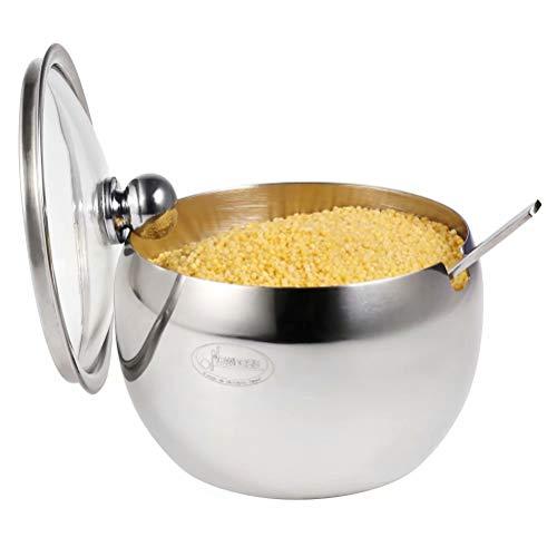 Newness Zuccheriera in Acciaio Inox con Coperchio Trasparente e Cucchiaio da Zucchero per Casa e Cucina, a Forma di Tamburo Dimensioni RiDotte, 240 ML (8.1Oz Or 1 Cup)